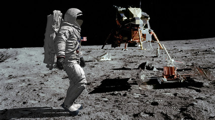 Türaufkleber Nasa 3D rendering. Astronaut walking on the moon. CG Animation. Elements of this image furnished by NASA.