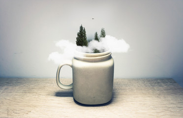 Forest And Clouds Inside Coffee Mug Hipster Adventure Outdoors Conceptual Art