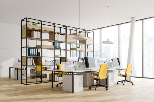 White panoramic open space office corner