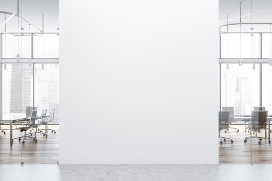 White light wooden meeting room with mock up wall