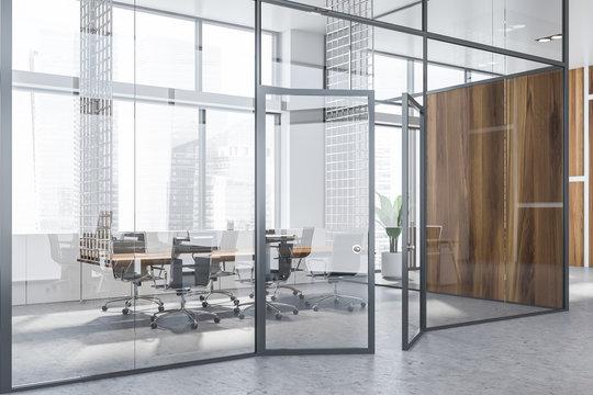 Glass wall meeting room interior