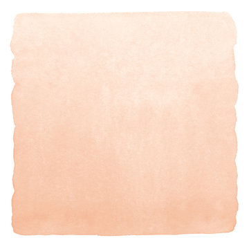 Rose beige watercolor gradient background with rounded uneven edge. Human skin, epidermis, foundation color painted watercolour texture. Pastel, soft light brown, natural aquarelle square template.
