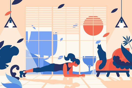 Interior scene with woman doing plank position. Home gym in front of window, with stylish chair and sitting cat. Flat indoors illustration for sport healthy lifestyle