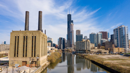 Fotomurales - Beautiful Clear Day Aerial View Chicago Illinois Skyline