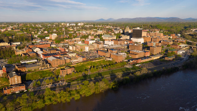 Sunrise Lights Up the Buildings and Streets of Lynchburg Virginia USA