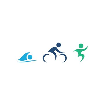 Triathlon swim, bike, run logo design vector illustration