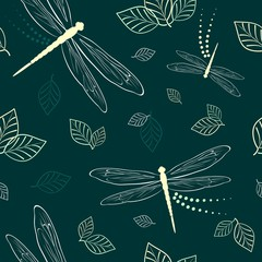 Photo sur Plexiglas Draw Dragonflies and Leaves Vector Textile Seamless Pattern
