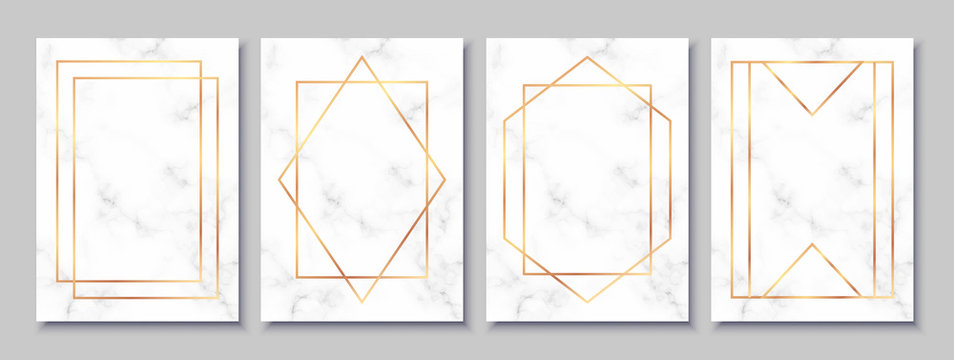 Luxury posters set with white marble texture and gold polygonal frames. Vintage templates in art deco style: cards, banners, brochures, flyers etc. Perfect for wedding invitations, party flyers etc.