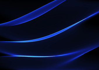 Blue curved abstract  lines on dark background.