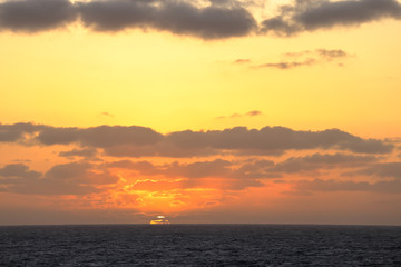 Sunset in the middle of the pacific ocean