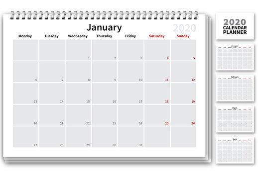 Minimalist 2020 Calendar Layout