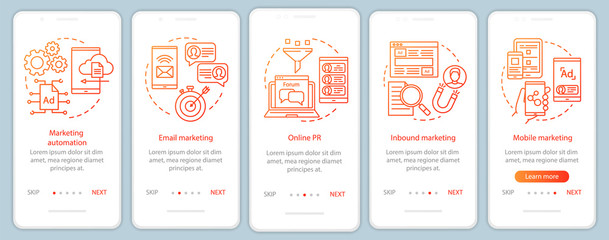 Digital marketing tactics orange onboarding mobile app page screen vector template. Advertising campaign walkthrough website steps with linear illustrations. UX, UI, GUI smartphone interface concept