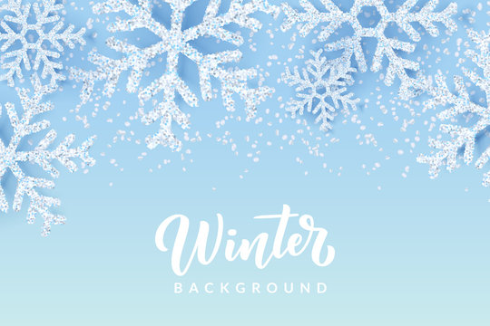 Winter background with realistic snow, snowflakes. Christmas or New Year banner, poster template. Vector illustration.