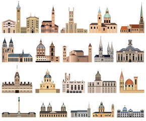 Fototapete - vector collection of high detailed isolated city halls, landmarks, cathedrals, temples, churches, palaces and other city's skyline architectural elements