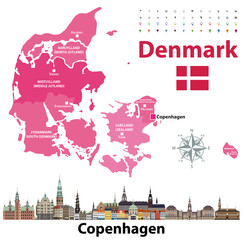 Fototapete - Denmark map and flag with Copenhagen  city skyline. Vector illustration