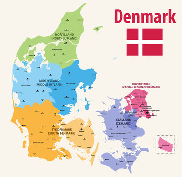 vector map pf Denmark provinces colored by regions with main cities on it