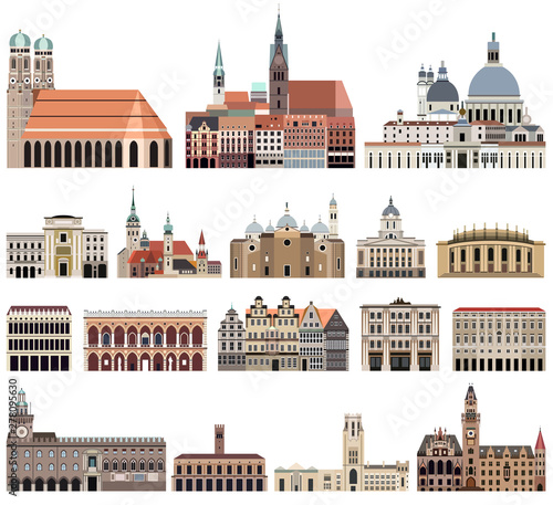 Fototapete vector collection of high detailed isolated city halls, landmarks, cathedrals, temples, churches, palaces and other city's skyline architectural elements