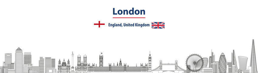 Fototapete - London cityscape line art style vector detailed illustration. Travel background