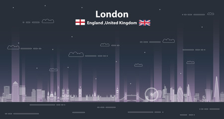 Fototapete - London at night cityscape line art style vector detailed illustration. Travel background