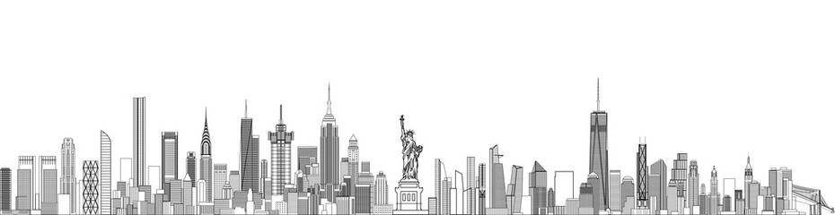 Fototapete - New York cityscape line art style vector detailed illustration. Travel background