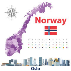 Fototapete - Norway administrative divisions map and cityscape of Oslo. Location and navigation icons. Vector illustration