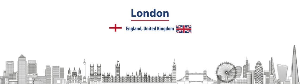 London cityscape line art style vector detailed illustration. Travel background