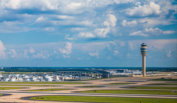 Runways and the Control Tower at Atlanta's Hartsfield-Jackson Airport