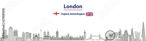 Fototapete London cityscape line art style vector detailed illustration. Travel background