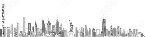 Fototapete New York cityscape line art style vector detailed illustration. Travel background