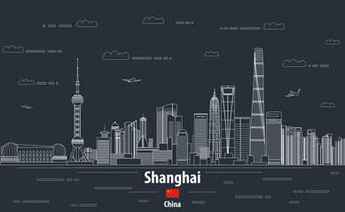 Fototapete - Shanghai at night cityscape line art style vector detailed illustration. Travel background