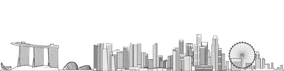Fototapete - Singapore cityscape line art style vector detailed illustration. Travel background