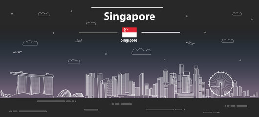 Fototapete - Singapore at night cityscape line art style vector detailed illustration. Travel background