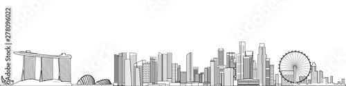 Fototapete Singapore cityscape line art style vector detailed illustration. Travel background