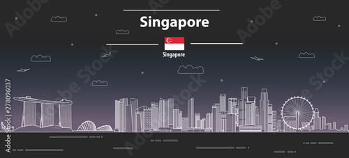 Fototapete Singapore at night cityscape line art style vector detailed illustration. Travel background