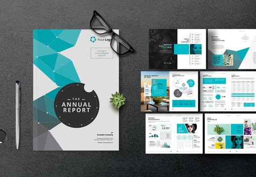Annual Report Layout with Teal Elements