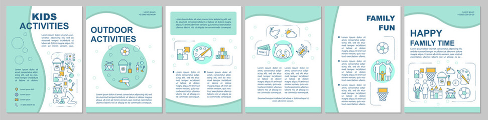 Kids activities brochure template layout. Happy family time. Flyer, booklet, leaflet print design with linear illustrations. Vector page layouts for magazines, annual reports, advertising posters