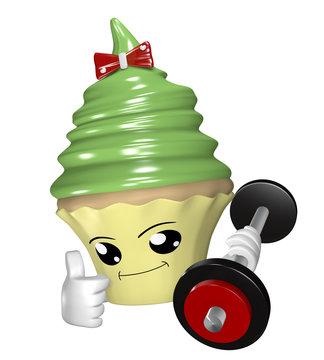 Lustiger Fitness Cupcake mit Hantel und ok Zeichen.