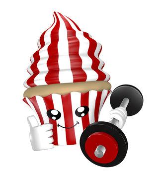 Lustiger Fitness Cupcake mit Hantel in rot weiß gestreift.