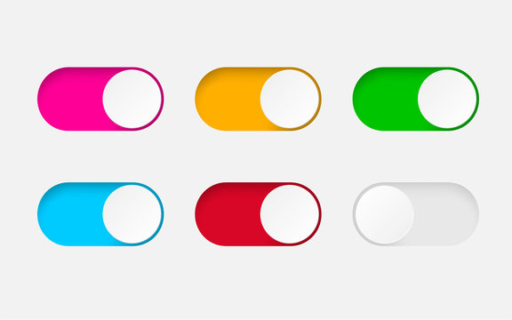 Set of On and Off toggle switch buttons.Design colorful switch buttons set.Toggle slide for mobile app, social media. vector eps10