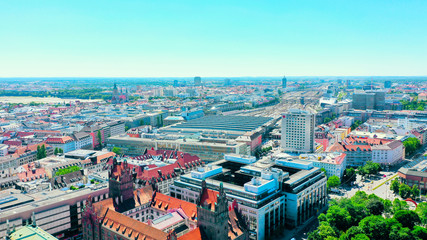 aerial city view of the main train station in Munich, Bavaria, Germany
