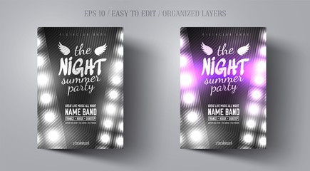 Poster or flyer template for night dance party in black and white noir style. Invitations to events,show,concert.Layout design banner for music disco club. Abstract background.Vector illustration