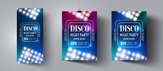 Poster and flyer template for night disco party. Invitations to events,show,concert.Layout design banner for music dance club. Backdrop design.Modern abstract background.Vector illustration