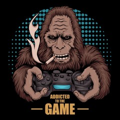 game addicted bigfoot vector illustration