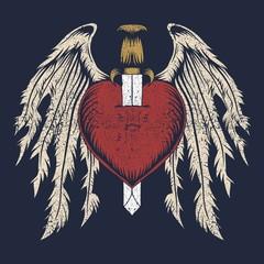 broken heart wing vector illustration