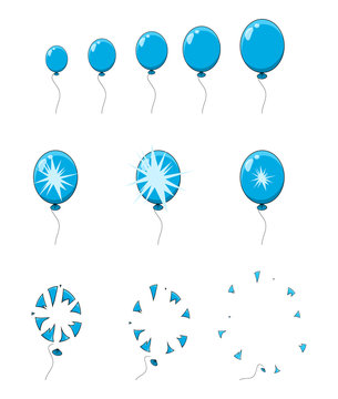 balloon pop, explosion, burst animation step, frames isolated on white