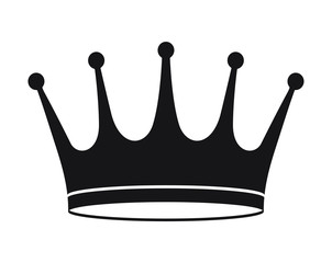Black crown icon in flat style, illustration for your logo or design.