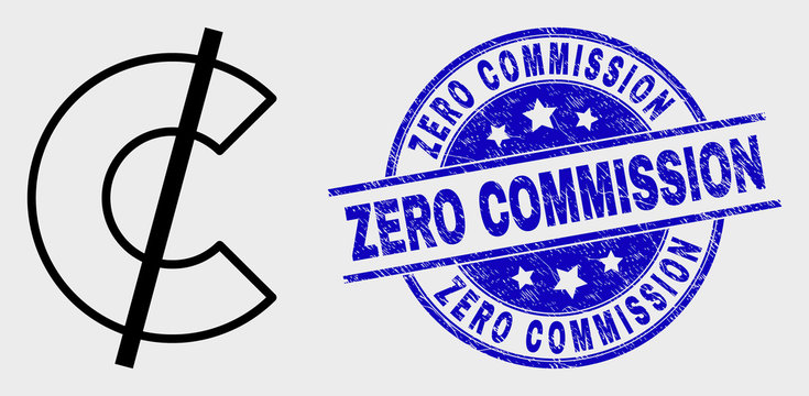 Vector stroke cent pictogram and Zero Commission seal stamp. Blue rounded scratched seal stamp with Zero Commission message. Black isolated cent icon in contour style.