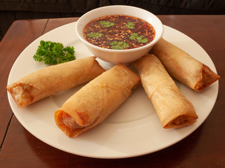 Home-Made Spring Rolls and Sweet Chilli Sauce