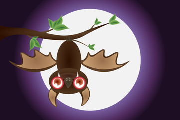 Happy Halloween, bat, twigs, with the moon, background scenes, shades of purple