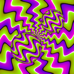 Green and purple background with moving spheres. Spin illusion.
